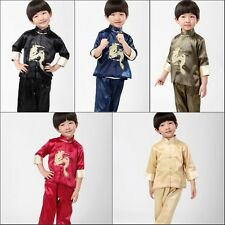 Boy's Embroidery Dragon Shirt Pants Suit Blue Black Green Red Yellow Size:2-16