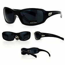 Locs Cholo Mens All Black Classic Biker Warp Sport Sunglasses
