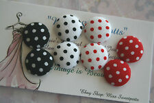 Fabric Earrings Red White Black Polka Fabric Dot Covered Button Studs / Clip-On