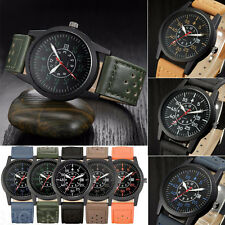 VINTAGE CLASSIC MENS WRIST WATCH WATERPROOF DATE LEATHER SPORT QUARTZ ARMY WATCH