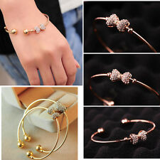 Fashion Women Jewelry bow Crystal Gold Plated Charm Cuff Bangle Bracelet Gift