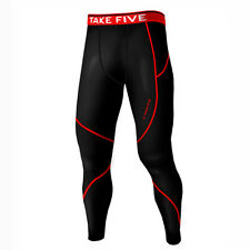 Take Five Mens Lined Skin Tight Compression Base Layer Running Pants Black NP513