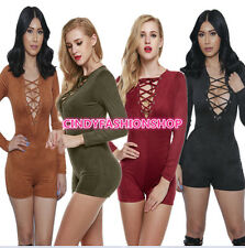 Ladies Women Sexy V Neck Plunge Bodysuit Long Sleeve Bodycon Rompers Jumpsuit