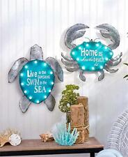 COASTAL BEACH THEMED LIGHTED METAL CRAB OR TURTLE SIGN WALL ART ACCENT LIGHTING