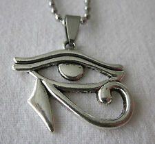 Antique Silver Style Egyptian Eye of Horus on a Dog Tag Chain - Necklace Pendant