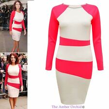 Womens Ladies Celebrity Contrast Neon Pink Bodycon Party Bandage Mini Dress Top
