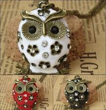 Women Charms Retro Crystal Rhinestone Owl Pendants long Necklaces Sweater Chains