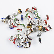 50Pcs Silver Plated Czech Crystal Spacer Rondelle Beads Charm Findings 8mm New