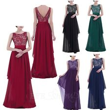 Women's Long Formal Prom Evening Cocktail Bridesmaids Gowns Party Lace Dresses