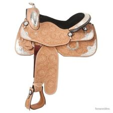"Western Silver Show Saddle - Silver Royal - Light Oil Leather - 14"",15"",16"""
