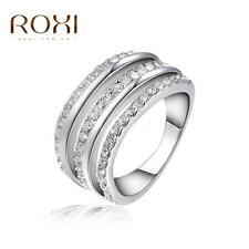 Women Ladies Fashion 18K White Gold Plated Crystal Ring Jewelry Size #6 7 8 T2O3