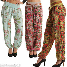 New WOMENS HAREM PANTS SOFT STRETCH Loose Wide Rose PRINT BELTED Leggings8 10 12