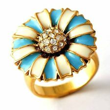 Authentic Yellow gold filled CZ/Blue Enamel Flower Womens vintage Ring Size 6 9