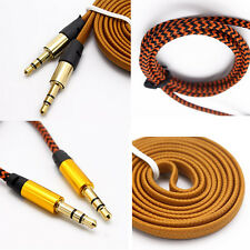 1M 3.5MM Jack Braided Fabric Round/Noodles Wire Audio Cable AUX Cord For MP3 Car