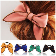 Fashion Women Bow Hairband Scrunchie Ponytail Holder Satin Ribbon Hair Rope 5WS