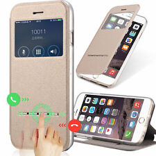Luxury Leather Smart Sensor Case Front View Window Flip Cover For Apple iPhone