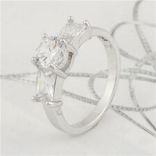 Shiny 18K White Gold Filled crystal Crystal  Engagement Ring,Size 6,7,8,9
