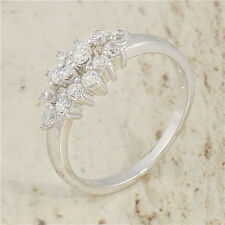 Brilliant 18K White Gold Filled crystal Crystal Womens Band Ring,Size 6,7,8