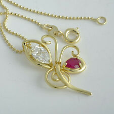 New Classic 9K Real 18k Gold Filled CZ/Ruby Butterfly Pendant+Necklace Set