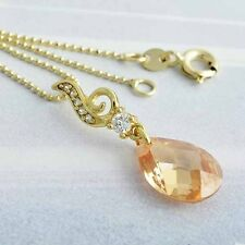 authentic Swarovski crystal gold filled womens pendant necklace long 18 in chain