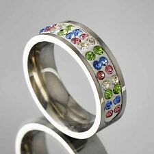 Womens fashion White GF Stainless Steel Color CZ Band Ring jewelry Size 6 7 8 9
