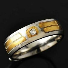 Womens Mens Gold F Stainless Steel CZ Band Wedding Ring Size 8 9 10 11
