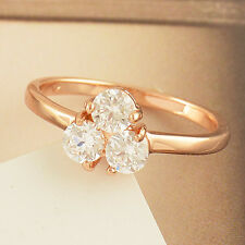Exquisite 9K Rose Gold Filled Clear Cubic Zirconia Lucky Ring Size 6 7