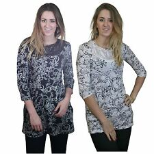 NEXT Long Floral Tunic Top in Cream/Black