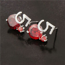 Chic Design 18K White Gold Filled Red Ruby & CZ Womens Stud Earrings