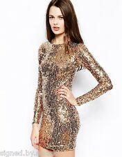 French Connection Princess All Sequin Bodycon Fit Party Bronze Dress 8 10 12