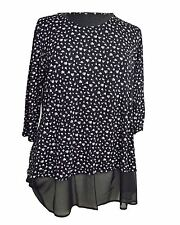 NEW Tunic Top Blouse in Black Daisy Print