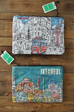 Istanbul Illustrated Drawing Paper Bags Zippered Design FREE SHIPPING FROM UK!