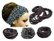 Womans Black Headband Gypsy Hippie Boho Headband Dreadlocks Hair band Head Scarf