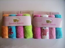 "Luvable Friends Washcloth 4 Pack Boys Girls Size 10x10"" Select Octopus Eleph NIP"
