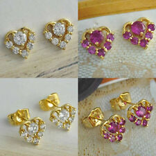 Free Shipping 18K Yellow Gold Filled crystal Crystal Heart Stud Earrings