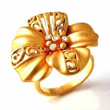 Vintage Women Clear CZ Yellow GF Big Flower cocktail Band Ring Size 7 8 9