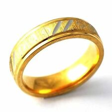 Mystic Mens Yellow Gold Filled Carve Silver Stripe Band Ring Size 8 9 10 11 12