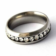 Fashion Womens Stainless Steel Rhinestone Crystal Interval Band Ring Size 6-9