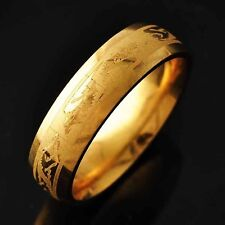 Mystic Yellow Stainless Steel Carved Dragon Pattern Mens Jewelry Ring Size 8-11