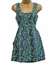 NEW Scoop Neck Dress Top with Floral Green Black Blue Print