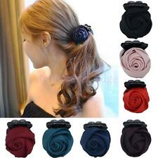 1Pc Chic Handmade Rose Flower Banana Barrette Claw Hair Clip Pin (Choose Color)