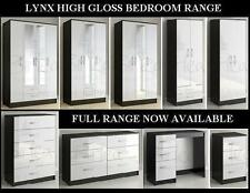 NEW FULLY ASSEMBLED LYNX BLACK AND WHITE HIGH GLOSS BEDROOM FURNITURE