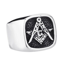 Men Titanium Stainless Steel Freemason Ring Masonic Lodge Ring For Jewelry CE