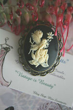 Guardian Angel Cameo Brooch Pin or Large Angel Pendant / Brooch Vintage Style