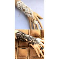 Elegant Wedding Bridal Lace Wrist Cuffs Fingerless Glove Bracelet with Ring