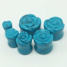 2pcs Rose Turquoise Semi-precious Stone Ear Plug Gauge Expansion Earring 2g-16mm