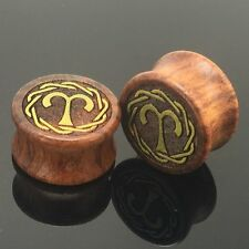 1 pair 0g-20mm Aries Constellation Wooden Double Flare Ear Plug Gauge Earring
