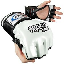 Fairtex Ultimate Combat MMA Gloves - Open Thumb - White / Black