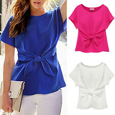Women's Short Sleeve Crewneck Tie Front Bow Chiffon Blouse Tops Shirt Sparkly