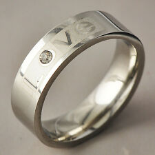 """Womens Mens silver plated Crystal """"LOVE"""" Eternity Band Ring Size 8-11"""